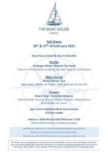 Sail Away Menu 26th & 27th